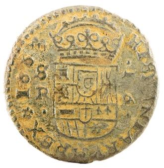 Alte spanische kupfermünze von könig felipe iv