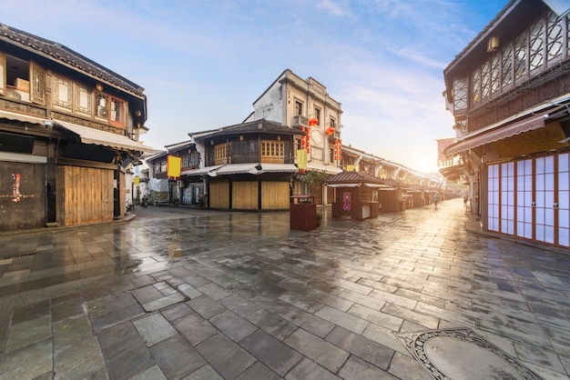 Alte straßenansicht qinghefangs in provinz hangzhou-stadt zhejiang