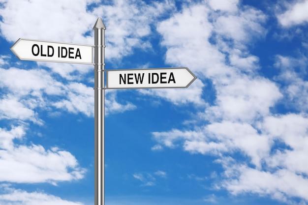 Alte und neue idee richtungspfeile straßenschild auf blauem himmelshintergrund. 3d-rendering