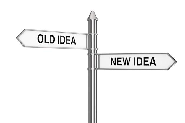 Alte und neue idee richtungspfeile straßenschild auf weißem hintergrund. 3d-rendering
