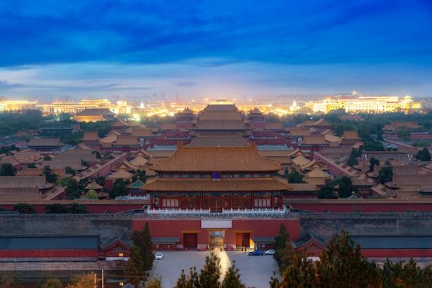 Alte verbotene stadt pekings in der nacht in peking, china.