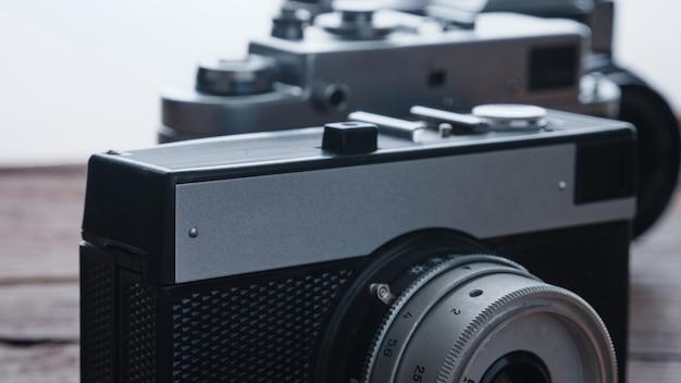 Alte vintage 35-mm-metallfilmkamera, nahaufnahme