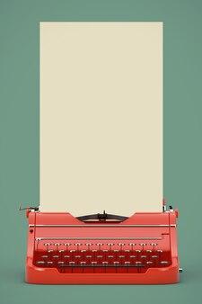 Alte vintage retro rote schreibmaschine mit langen weißen leeren papier bereit für ihr design auf grünem hintergrund. 3d-rendering