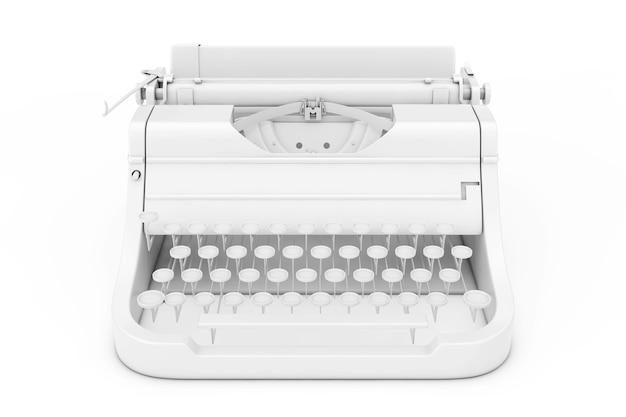 Alte vintage retro-schreibmaschine im clay-stil auf weißem hintergrund. 3d-rendering.