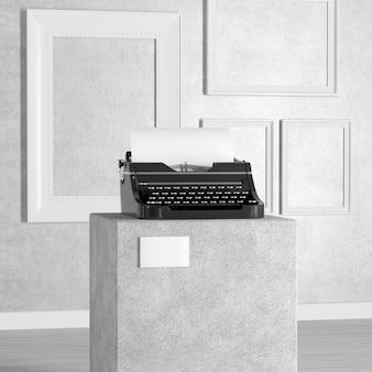 Alte vintage retro-schreibmaschine über sockel, bühne, podium oder spalte in der kunstgalerie oder im museum auf weißem hintergrund. 3d-rendering