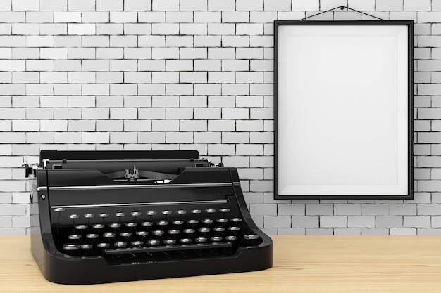 Alte vintage retro-schreibmaschine vor backsteinmauer mit blank frame extreme nahaufnahme. 3d-rendering.
