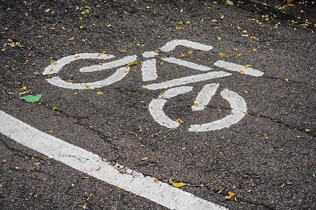 Alter fahrradweg im herbstpark