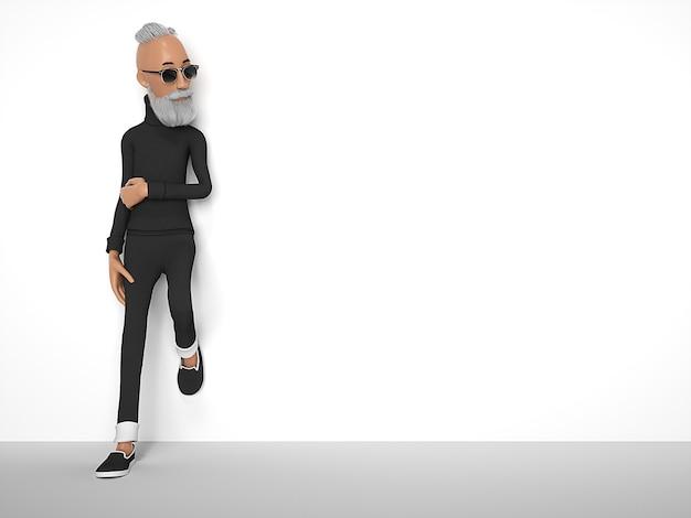 Alter hipster-typ mit bart stilisierte zeichentrickfigur. 3d-rendering