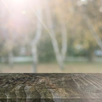 Alter holztisch vor bäumen während der herbstsaison