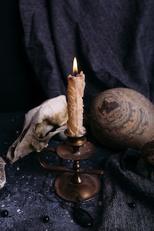 Alter hundeschädel brennende kerze holzrunen und steine auf dem hexentisch