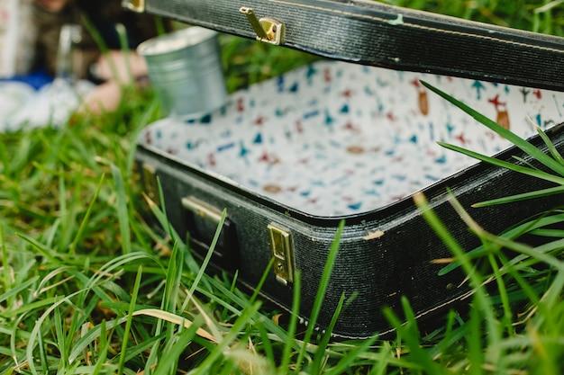 Alter koffer wieder hergestellt, offen und leer auf dem gras.