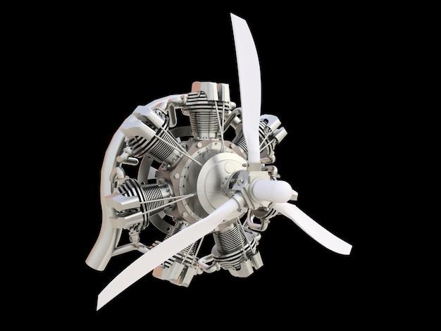 Alter kreisförmiger flugzeugverbrennungsmotor mit propeller und blättern. 3d-rendering.
