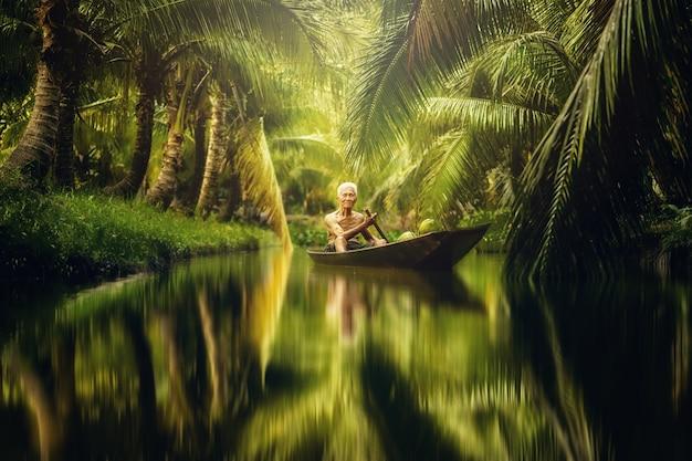 Alter mann, der kokosnuss sammelt, indem er boot in der kokosnussfarm verwendet