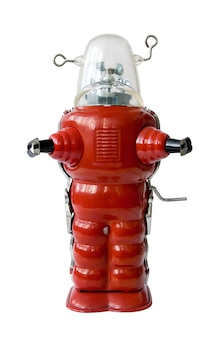 Alter roter metallroboter - weinlesespielzeug