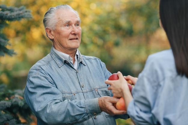Alter senior, der in einem sommergarten mit äpfeln steht
