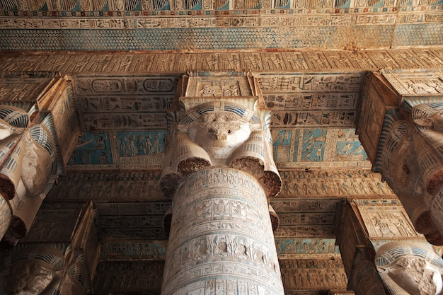 Alter tempel hathor in dendera, ägypten