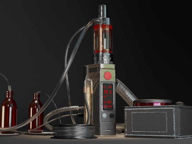 Alter vaping mod und spulenhersteller. 3d-illustration