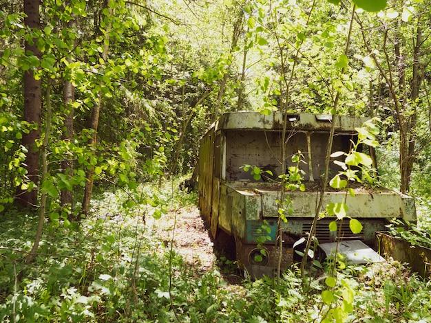 Alter verlassener lieferwagen mitten im wald