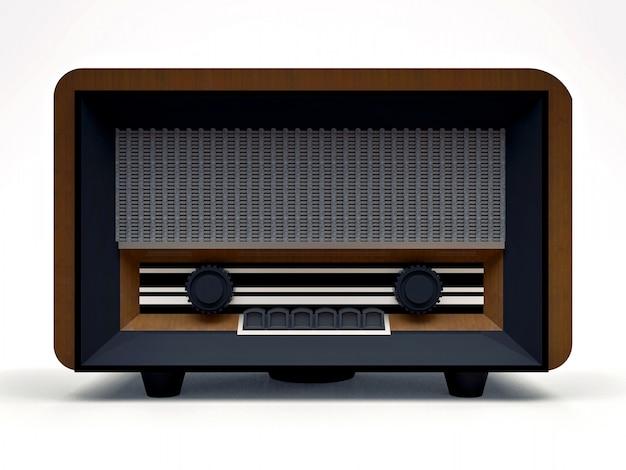 Alter weinleserohrradioempfänger hergestellt vom hölzernen und schwarzen plastik auf einem weißen hintergrund. altes radio aus der mitte des 20. jahrhunderts. abbildung 3d.
