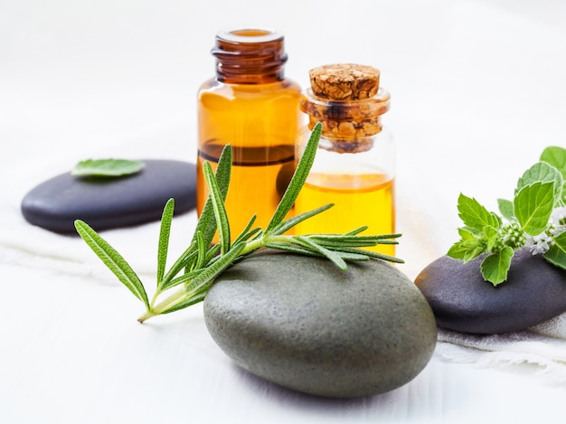 Alternative gesundheitsfürsorge und kräutermedizin, frischer rosmarin und pfefferminz auf badekurortstein.