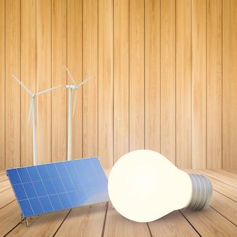 Alternatives energiekonzept mit 3d-rendering-windkraftanlagen, sonnenkollektoren und glühbirne