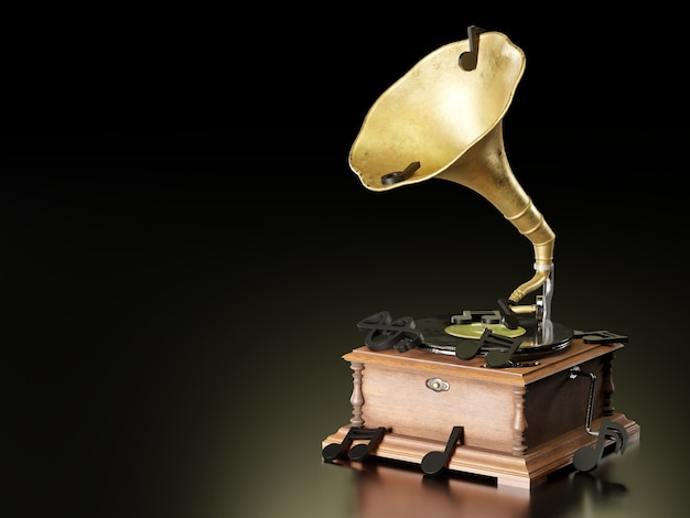 Altes antikes grammophon oder phonograph und schwarze musiknoten im dunklen schwarzen hintergrund. es ist ein beliebter mythischer musikplayer. es funktioniert durch aufziehen. das konzept von musik und ästhetik. 3d-darstellung.