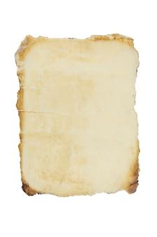 Altes blatt papier auf einem weißen isolierten hintergrund