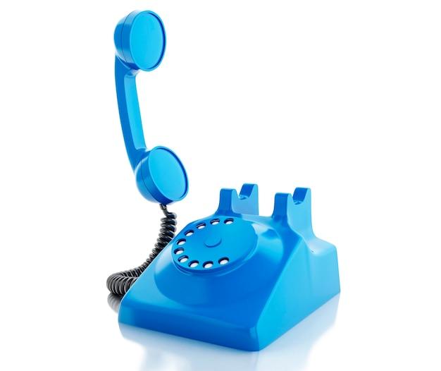 Altes blaues telefon 3d. kommunikationskonzept.