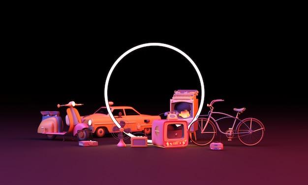 Altes fernsehen in rosa farbe und altes zeug schriftstellerradio-rollerfahrrad in buntem pastell mit kreis führte beleuchtung auf schwarzer wand 3d-darstellung