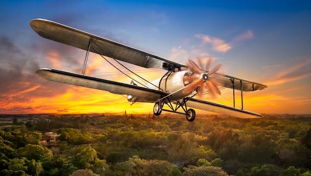 Altes flugzeug über ländlicher szene