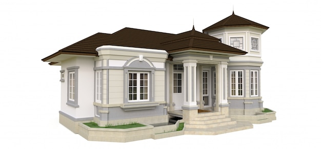 Altes haus im viktorianischen stil. abbildung auf weißem hintergrund. arten von verschiedenen seiten. 3d-rendering.