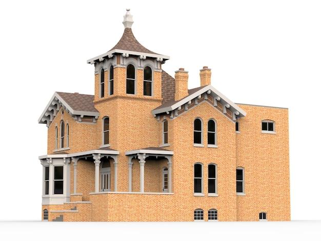 Altes haus im viktorianischen stil. illustration auf weißem hintergrund. arten von verschiedenen seiten. 3d-rendering.