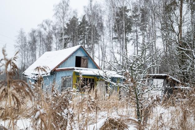 Altes hölzernes landhaus im trockenen schilfdickicht in der wintersaison