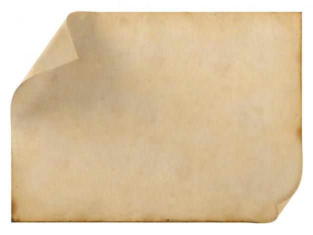 Altes leeres weinlesepapier auf weiß, wiedergabe 3d