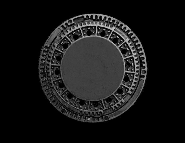 Altes metallkanalschacht auf einem schwarzen hintergrund