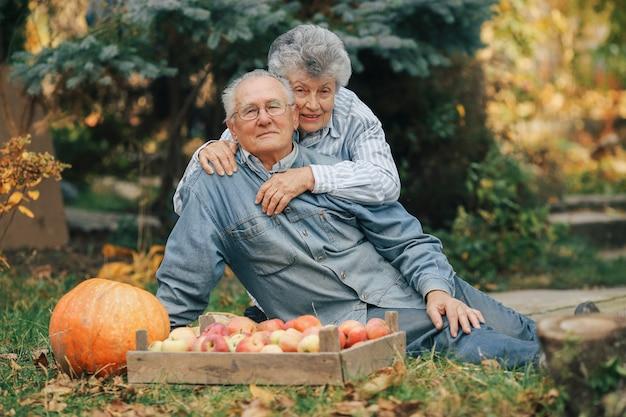Altes paar, das in einem sommergarten mit ernte sitzt