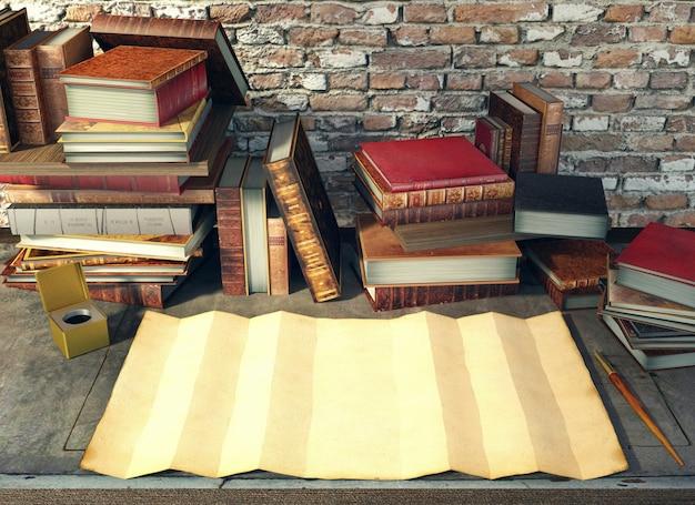 Altes papier und alte bücher auf studientabelle in der mittelalterlichen szene, wiedergabe 3d