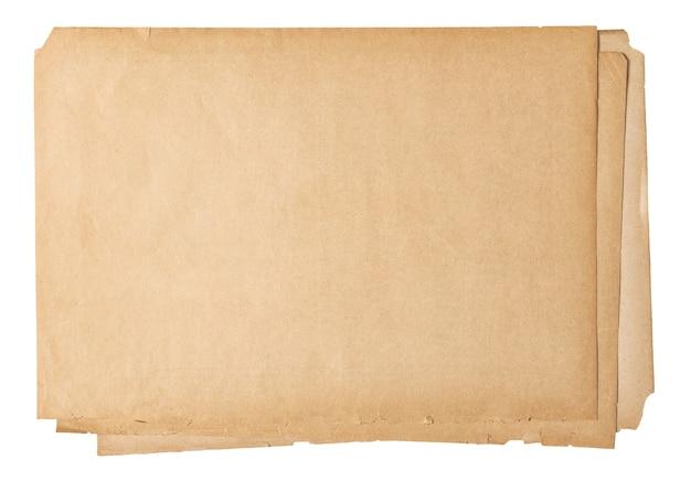 Altes papierblatt isoliert. benutzter texturhintergrund