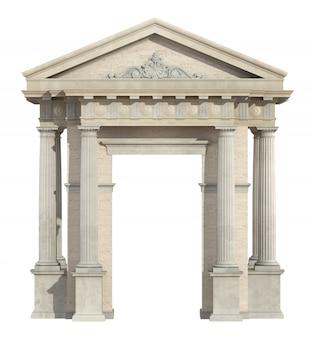 Altes portal im neoklassizistischen stil lokalisiert auf weiß