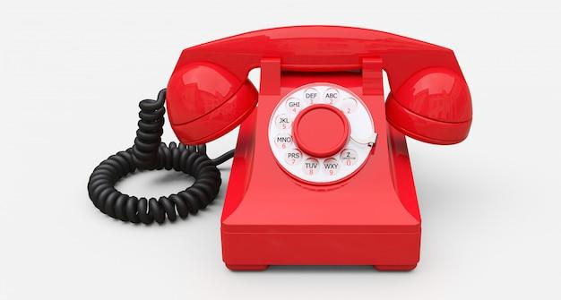 Altes rotes vorwahlknopftelefon auf einem weißen hintergrund. abbildung 3d.