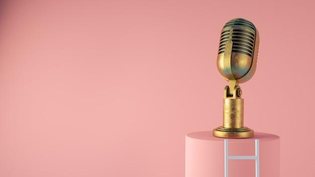 Altes weinlesemikrofon mit leiter-konzept-3d-darstellung
