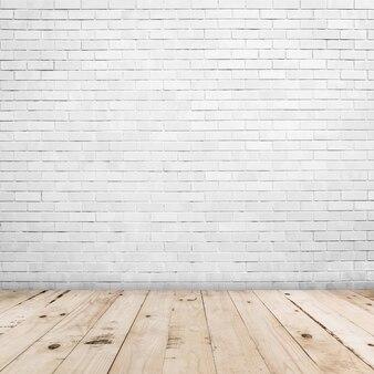 Altes weißes backsteinmauer- und holzfußboden backgroung und beschaffenheit mit kopienraum