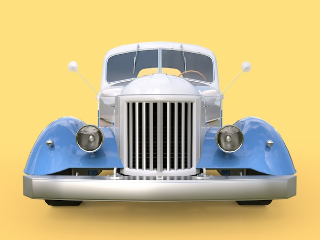 Altes wieder hergestelltes weißes und blaues auto auf gelb