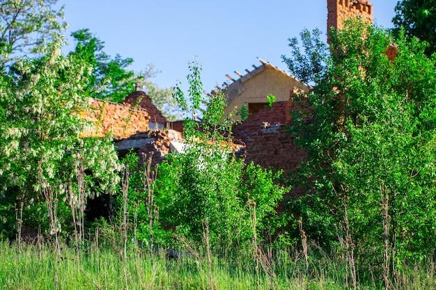 Altes zerstörtes haus auf einem leeren feld.