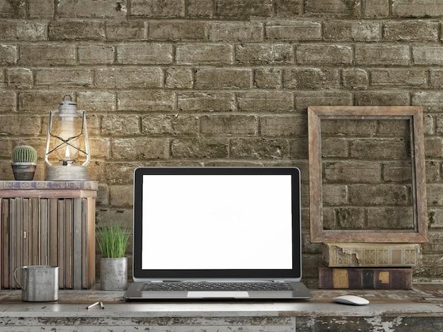 Altmodischer geschäftsbereich, leerer laptopbildschirm.