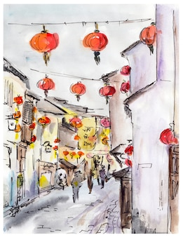 Altstadtstraße in china, traditionelle chinesische rote laternen