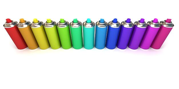 Aluminium-sprühdosen in verschiedenen farben
