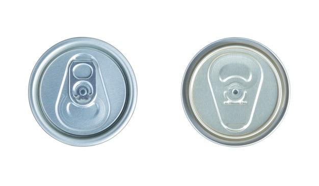 Aluminiumdosendeckel isoliert auf weißem hintergrund mit beschneidungspfad