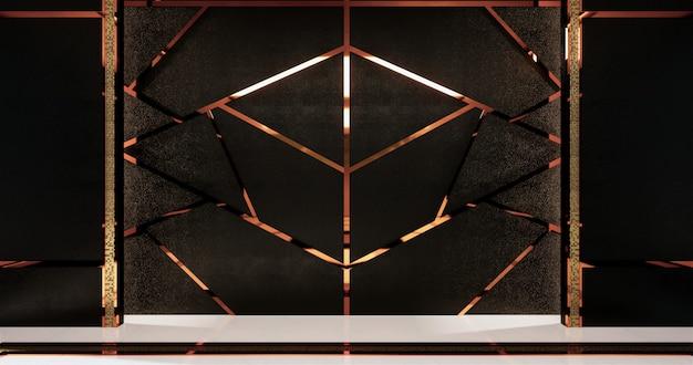 Aluminiumordnungsgold auf schwarzer wandgestaltung und bretterboden