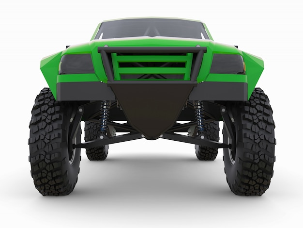 Am besten vorbereiteter grüner sportrennwagen für das wüstengelände